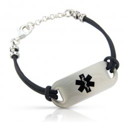 Black Leather Cord Medical ID Alert Bracelet