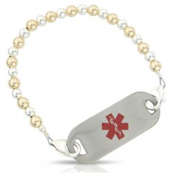 Gold & Silver Balls Medical ID Alert Bracelet