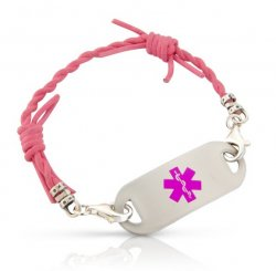 Pink Leather Barbed Wire Medical ID Alert Bracelet