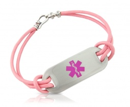 Easy Open Pink Leather Cord Medical ID Alert Bracelet