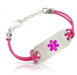 Pink Leather Cord Medical ID Alert Bracelet