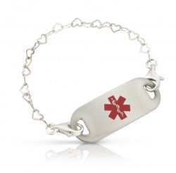 Sterling Silver Heart Chain Medical ID Alert Bracelet