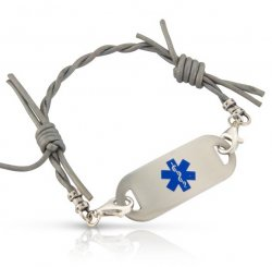 Silver Leather Barbed Wire Medical ID Alert Bracelet