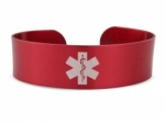 Red Hypoallergenic Anodised Aluminium Medical ID Alert Cuff
