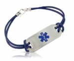 Easy Open Navy Blue Leather Cord Medical ID Alert Bracelet