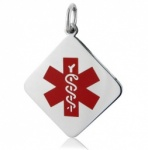 Red Stainless Steel Diamond Medical ID Alert Pendant