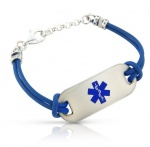 Royal Blue Leather Cord Medical ID Alert Bracelet