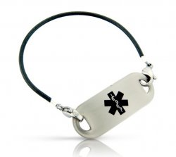 Black Rubber Tube Medical ID Alert Bracelet