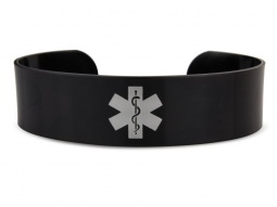 Black Hypoallergenic Anodised Aluminium Medical ID Alert Cuff