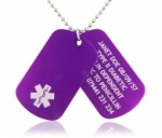 Medical ID Alert Dog Tags Anodised Aluminium