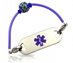 Violet Rubber Tube Medical ID Alert Bracelet